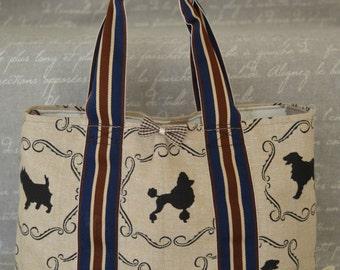 Handmade Dog Walking Bag - Dog Silhouettes Design