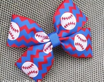 Baseball Hairbow, Baseball  Sister, Chevron Bow for girls, Blue Red Hairbow, approx 4 inches, Glitter Baseball, MLB gear, Baseball fan