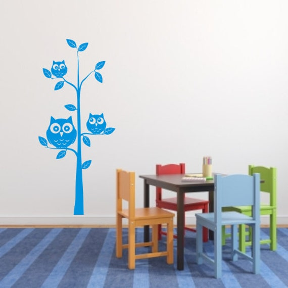 Wall Decor Childrens Rooms : Owls in a tree kids nursery room wall art sticker by