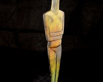 Cycladic figurine Female Great bronze marble based aged sculpture