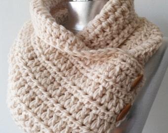 Crochet chunky neckwarmer button scarf boston cowl boston scarf neckwarmer in cream handknitted