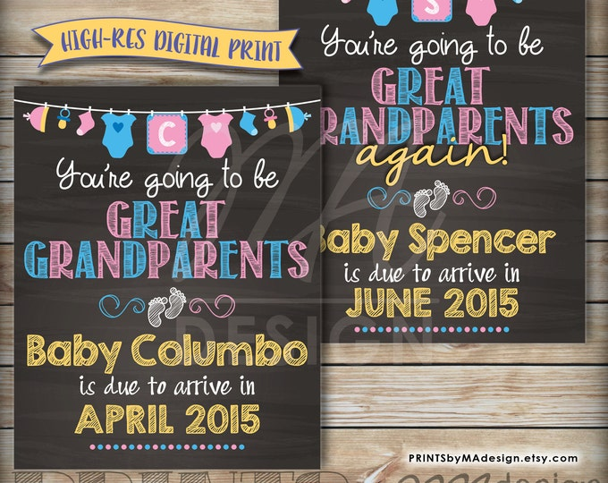 "Going to be GREAT GRANDPARENTS Pregnancy Announcement, Great Grandparents Again, We're Pregnant, 8x10/16x20"" Chalkboard Style Printable Sign"