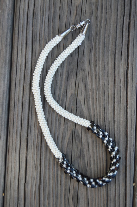 necklace black and white kumihimo braided beaded necklace