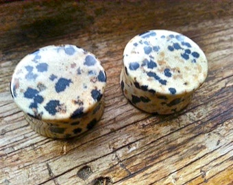 "1"" (25mm) Dalmatian Jasper STONE Plug Gauge Black and Tan Double Flare Plug Gauges PAIR"