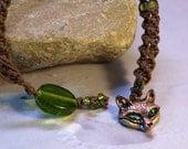 Fox Necklace-Fox Pendant-Fox Animal Jewelry-Beaded Macrame Necklace with Green Eyed Fox Pendant- Ready To Ship