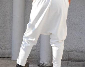 Harem Pants, White Cotton Harem Pants for Women, Plus Size Pants, Drop Crotch Pants, Casual Pants, Pants Women, White Pants - PA0739PM