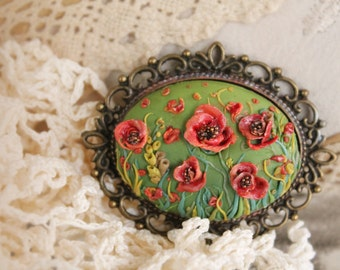 Retro Inspired Polymer Clay Handmade Brooch, Vintage Polymer Clay Brooch, Shabby Chic Clay Poppies Brooch,Canadian Remembrance Poppy Day Pin