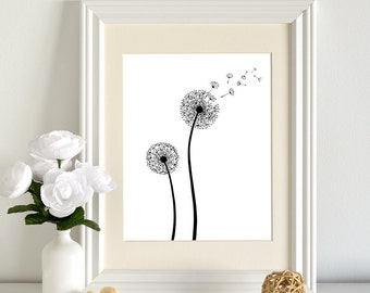 Printable Dandelion Print, Black and White dandelion art, Flower Print, Dandelion, Graphic Dandelion, wall art decor, Instant Download