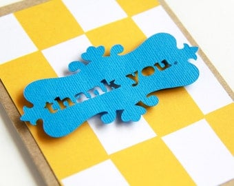Thank You Card Set - Yellow and Blue Card Set   Blank Card   Thank You Card   Note Card