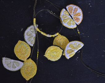 Lemon textile brooches / textile jewelry, wearable art / embroidered lemon / pendant necklace