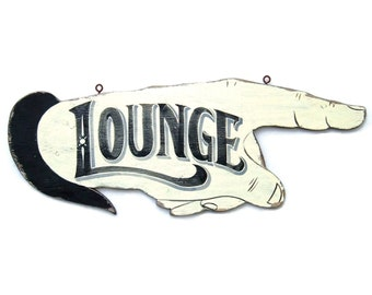 Hand Painted Lounge Sign, Vintage Inspired Home Bar
