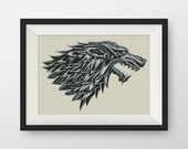 BUY 2, GET 1 FREE! Game of Thrones  Cross stitch pattern, pdf counted cross stitch pattern, Stark Sigil and Words, Instant Download, #P057