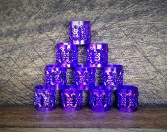 15 Dreadlock Beads | Filigree Purple Toned Metal, Adjustable Cuff, 8mm Hole Size