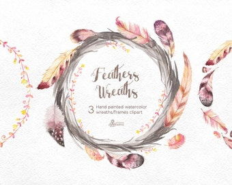Feathers Wreaths Clipart. 3 Hand painted watercolor frames, wedding diy elements, print, invitation, greeting, romantic, floral, boho