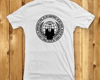 Anonymous T-Shirt  - White (S M L XL) - Internet Hacker Logo