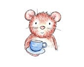SALE! Mouse print, mouse time for tea miniature picture, 6 x 4 mount