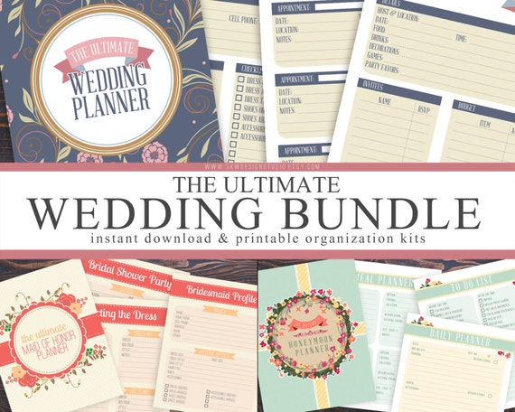 Printable wedding checklist planner ultimate wedding honeymoon planner bundle instant download printable diy wedding maid of solutioingenieria