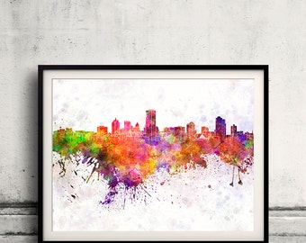 Milwaukee skyline in watercolor background 8x10 in to 12x16 Poster Digital Wall art Illustration Print Art Decorative  - SKU 0164