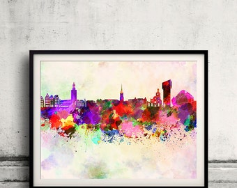 Stockholm skyline in watercolor background 8x10 in to 12x16 Poster Digital Wall art Illustration Print Art Decorative  - SKU 0184