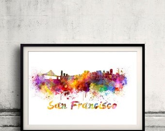 San Francisco skyline in watercolor over white background with name of city 8x10 in. to 12x16 in. Poster art Illustration Print  - SKU 0219