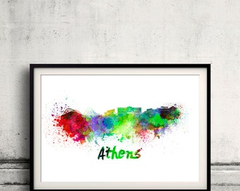 Athens skyline in watercolor over white background with name of city 8x10 in. to 12x16 in. Poster Wall art Illustration Print  - SKU 0273