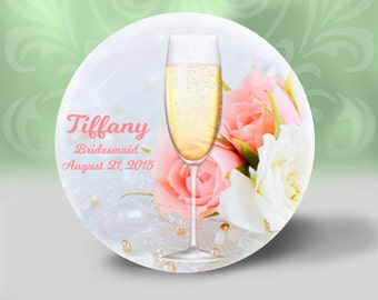 Personalized Champagne and Roses pocket mirror, Bridesmaid gift, Wedding favor, Shower gift, Compact Mirror, Small gift, Thank you, Coworker