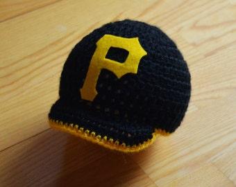 Newborn - PITTSBURGH PIRATE HAT-  Hat With Visor - Photography Prop - Newborn Hat - Baby Hat - Baby Boy Hat -Beanie - Newborn Props