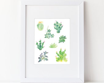 Watercolor Cacti and Succulents - Watercolor Modern Natural Art Print - Zen Art