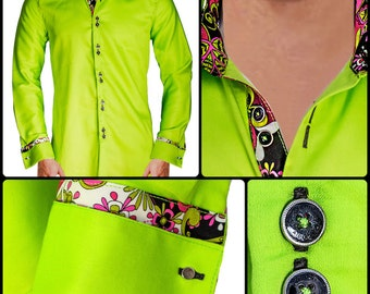 Men's Lime Green Designer Dress Shirt - Made To Order in USA