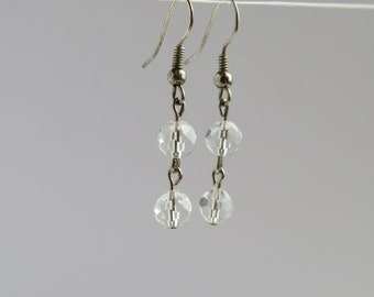 Clear Glass Faceted Bead Earrings