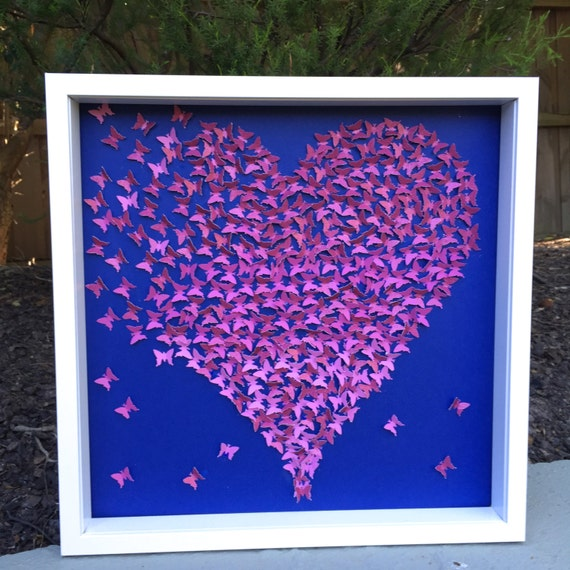 Paper Heart Wall Decor : Items similar to d butterflies wall art paper