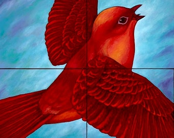 Pajarito - Giclee on Canvas Mounted on  4 Wooden Blocks