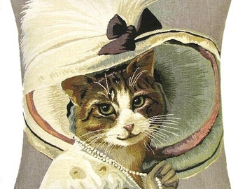 Cat Pillow Cover - Dressed Cat Cushion Cover - Tapestry Cat Pillow Cover - Cat Lover Gift - Belle Epoque Cat with hat - PC-5362