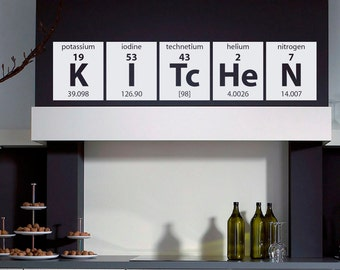 Kitchen Wall Decal Vinyl Stickers Periodic Table Elements Wall Art Vinyl Lettering Wall Decals Murals Home Decor for Kitchen M009