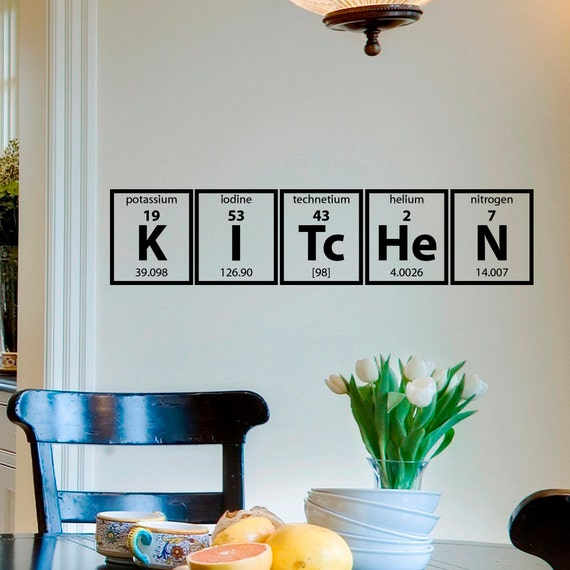 Periodic table of elements wall decal vinyl sticker kitchen for Kitchen table wall decor