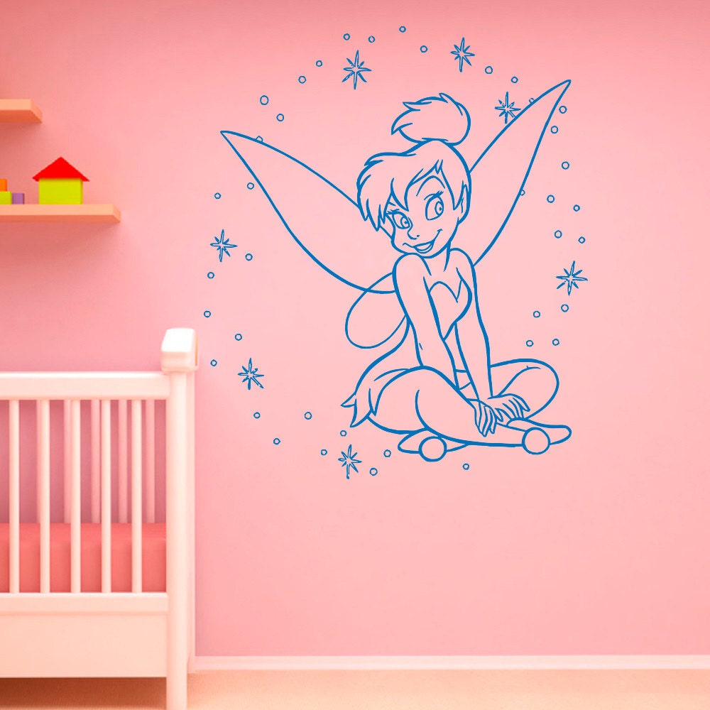 Tinkerbell wall decal little princess silhouette by for Disney princess wall mural stickers