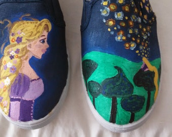 Women's canvas sneakers, hand painted with a Tangled/Rapunzel theme
