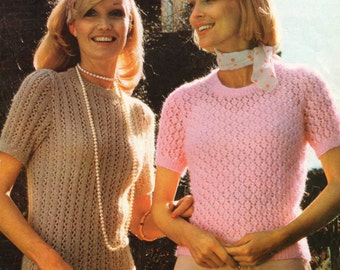 Vintage Knitting Pattern Ladies Short Sleeve Sweater with Lace Rib Pattern