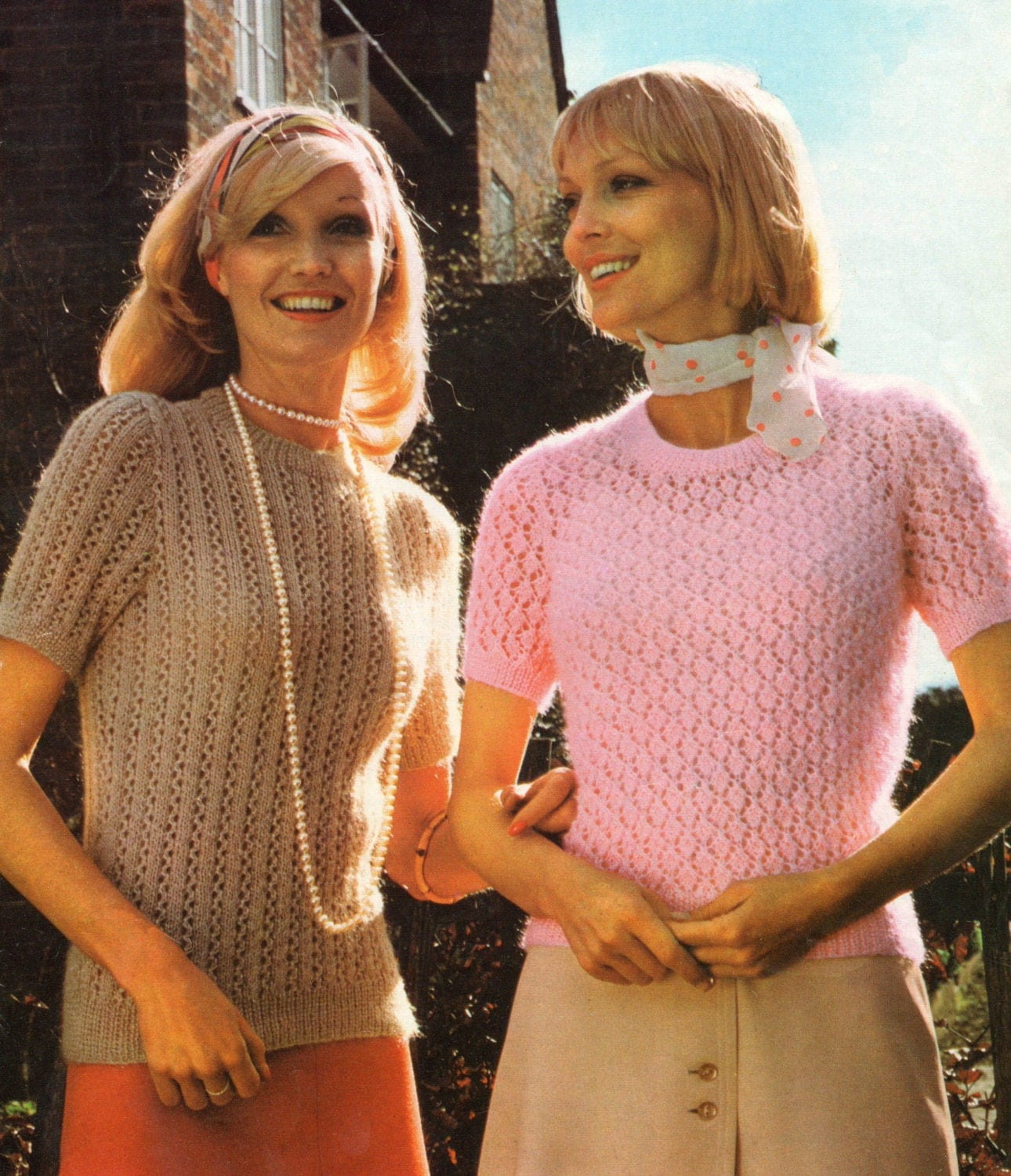 Knitting Pattern Ladies Short Sleeve Jumper : Vintage Knitting Pattern Ladies Short Sleeve Sweater with Lace