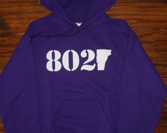 802 Classic Vermont Hooded Sweatshirt // White on Purple Hoodie // Adult Vermont Sweatshirt //