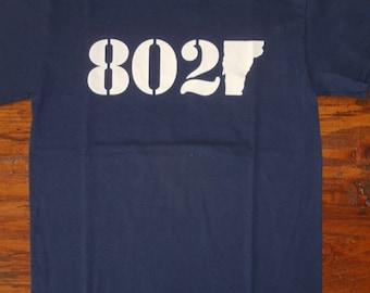 Vermont T-Shirt - 802 Classic - White logo on Navy Blue Tee