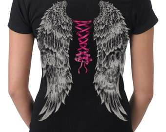 Women's Ribbon Piercing Corset Look Full Back Wing Black T-Shirt