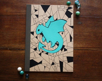Hand Illustrated Notebook, Blank Journal or Diary-Simple dragon
