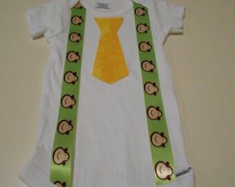 Baby Boy Suspenders and Tie Onesie Cute Newborn Monkey and Yellow Toddler