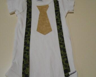 Camo Suspenders & Tie Onesie Baby Boy or Toddler Tan Newborn Clothing Clothes