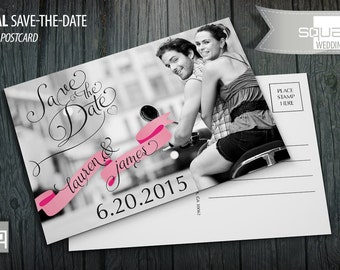 Save the Date Photo Postcard - Custom Wedding Post Cards - Save-the-Date - Photo Postcards - CASAL style - Black & White Photography