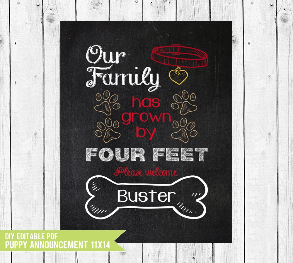 New Puppy Announcement  Our Family Has Grown By Four Feet. Basketball Practice Plan Template. Business Plan Template Powerpoint. Easy Business Administrative Assistant Cover Letter. Printable Menu Cards