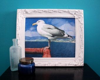 Seagull Nautical Watercolor Painting Print