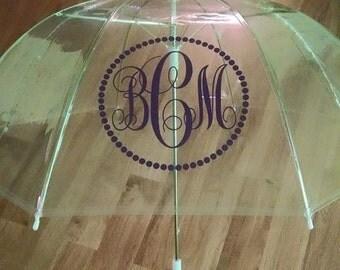 Monogramed Circle Dot Dome Umbrella