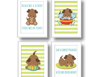 Puppies Nursery, Boy Read Me a Story Pastel Nursery Wall Art, Puppy Dog Nursery Decor